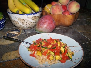 BROWN BASMATI RICE and a quick stir fry of tomatoes, zucchini, yellow crookneck squash, onion, garlic and chunks of chicken breast is a healthy, low calorie meal. Fruit is good for you, too.