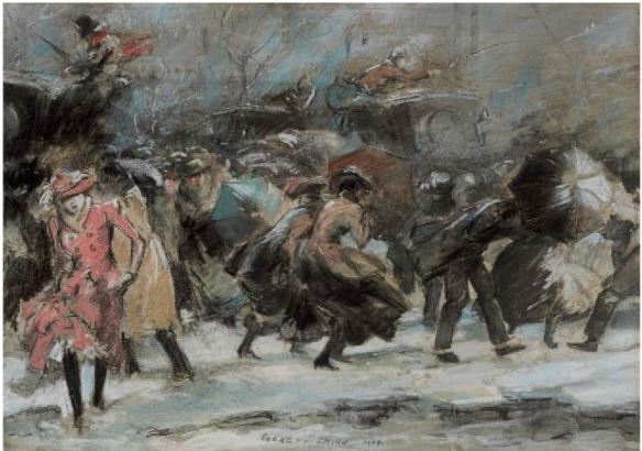 "Everett Shinn, ""Snowstorm on Broadway"""