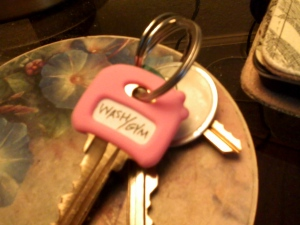My pretty new pink Laundry/Gym key.