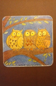 Three Owls. Colored pencils on paperboard coaster.