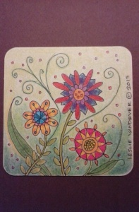 Flowers. Corlored pencils on paperboard coaster.