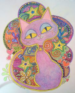 Color Cat. Colored pencil on sketch paper..