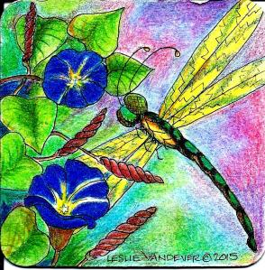 Dragonfly and Morning Glories. Watercolor and colored pencil on paperboard coaster.