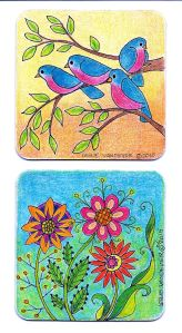 Flowers and Birds. Colored pencil on paperboard coaster.