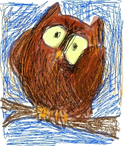 Silly Owl. Digital drawing done with my index finger on my smart phone.