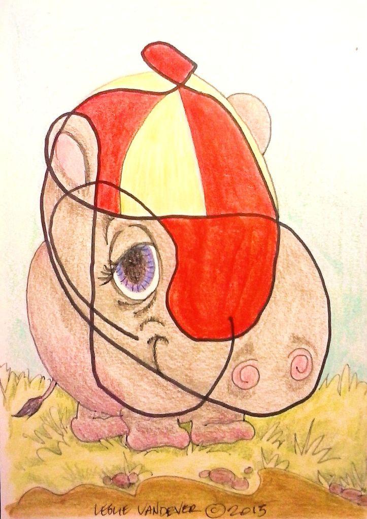 Scribble Hippo. Watercolor pencil, colored pencil, and inck on Bristol paper.