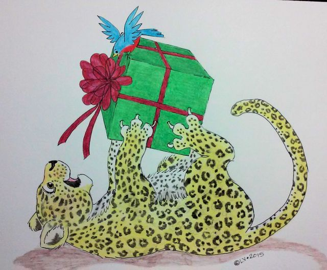 Leopard with a Xmas Gift