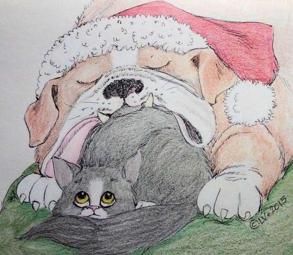 SleepySantaBulldog&Kitten